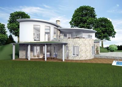 Exempel på vitputsad & stenklädd fasad