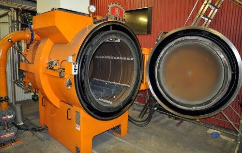The 7-ish feet tall vacuum furnace of the heat treating company that I use.