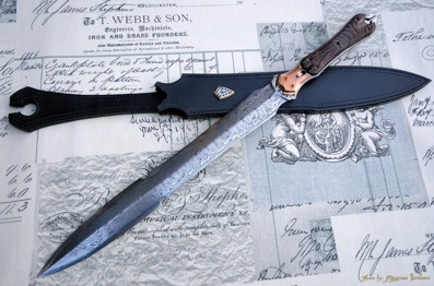 Spearpointed Dagger - Damasteel blade with Bronze bolsters and Wenge scales. This was a collaboration with Anders Nilsson.