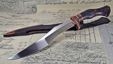 Storm - RWL34 steel with copper and Birchburl handle.