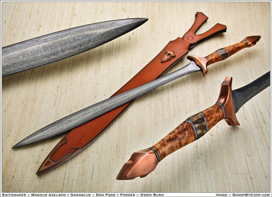 Axelson - Owen Bush - Don Fogg collaboration Sword, with Yewburl, copper and Mammoth tooth handle.