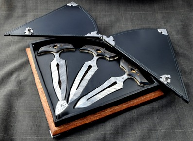 100th Anniversary Daggers - Damasteel blades with Ebony, bronze and nickelsilver handles. Custom made box.