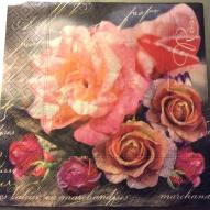Servett 33x33, rosor