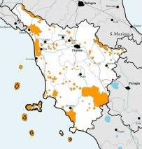 Gula fält =skyddat natur inom Toscana