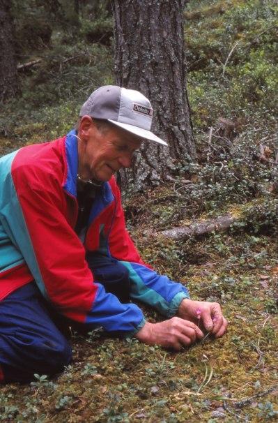 Sven Andersson med två normalstora nornor. Dalarna 1998-06-05