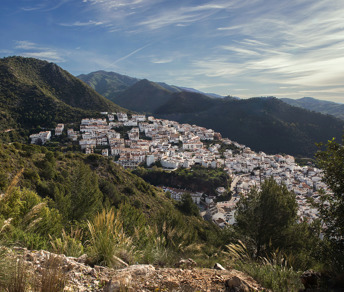 View over the Andalucian mountains with the village Ojen