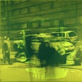 """Rivningen av magasinet"", 1mx1m, oil on canvas and acrylic glas"