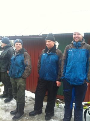 Några av klassegrarna, Fr v Poppo Olsson(ÄHV), Per-Åke Södergårds(HV) och Erik Södergårds(HS)