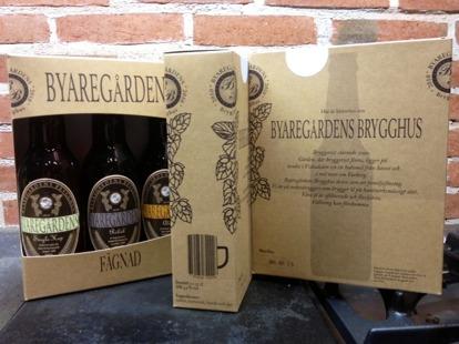 """Nytt lokalproducerat öl i presentförpackning """"tre unika smaker i Byaregårdens Fägnad"""""""