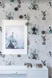 Circus Mighetto Wallpaper - Circus Mighetto Wallpaper Blue Grey
