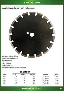 Asfaltklinga / diamantklinga för asfalt