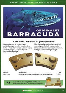 PCD cutters/Barracuda för golvslipmaskiner