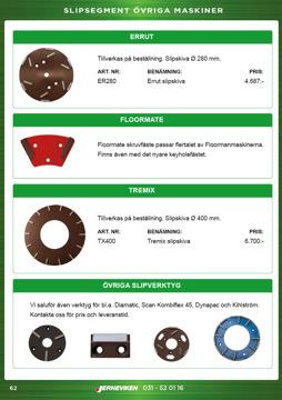 Slipverktyg till: Dynapac-, Errut-, Floormate-, Kihlström- och Tremixgolvslipar
