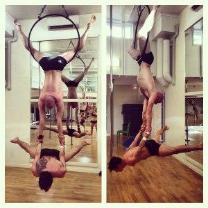 Våra härliga killar Danne och Kristian ligger inte på latsidan, här tränas det Aerial Hoops! ^.^