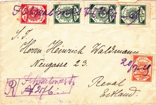 Registered letter from Jekabpils (Jekabmiests) to Estonia, franked with the 5, 15 and 20 kopek stamps of the 4th sun design issue as correct franking for a foreign registered  letter up to 20 g. Manuscript marking Jehkabmeests 20/9 19  as provisional cancellation