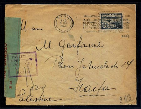 """Censored letter to Haifa cancelled with the machine cancellation to the Olympics with index """"B"""", M-36-B, 8-9, 5 JAN, 1940 (ex. Y. Eliashiv)"""