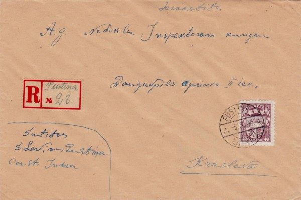 A registered letter sent to Krāslava, cancelled with the type 10 (engraved, without segment bars) postmark PUSTIŅA  A  -5.3.40.
