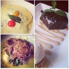 Vegan pesto ravioli, scallopine and chocolate ganache. Blossom Restaurant.