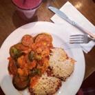 "Vegan ""chicken parmiggiana"" at Peacefood café downtown."