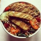 Tofu tenders, kale salad at Sacred Chow, Sullivan St.