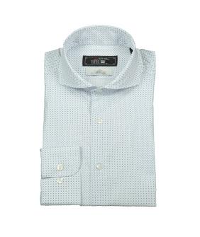 Agnelli Blå/Vit Småmönstrad Skjorta