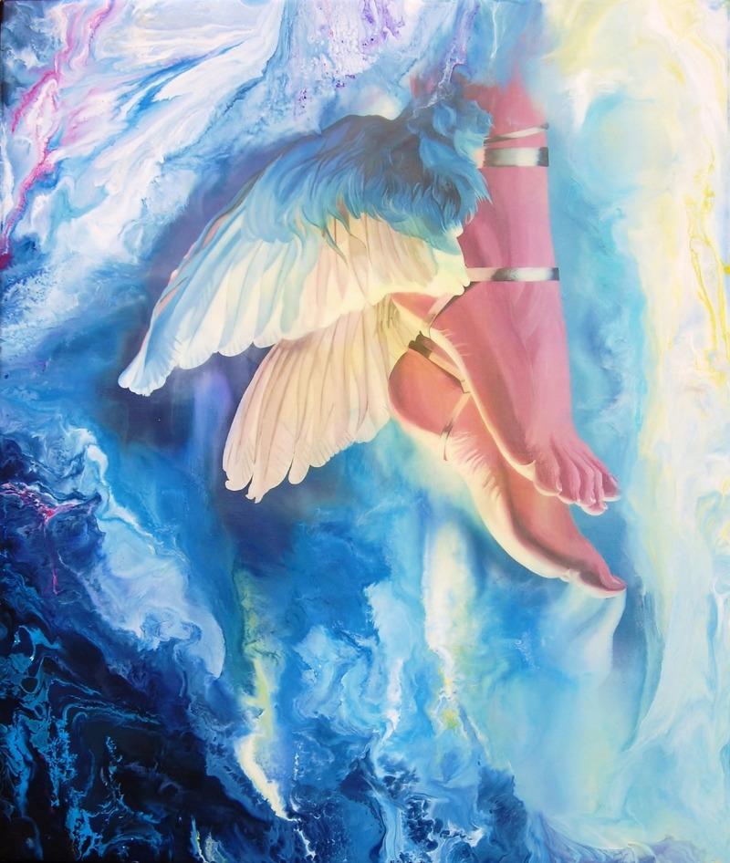 Släppa taget ~ Enkaustiskt bivaxmåleri på canvas, 55x65 cm - Copyright Carina Ehlers 2016   _____  Såld!