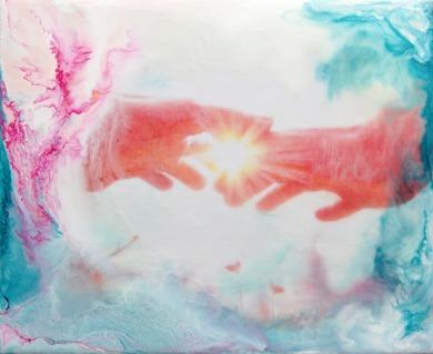 'Energy Flow' - 27x22cm, EncausticArt/Beeswax on panel - Carina Ehlers 2016