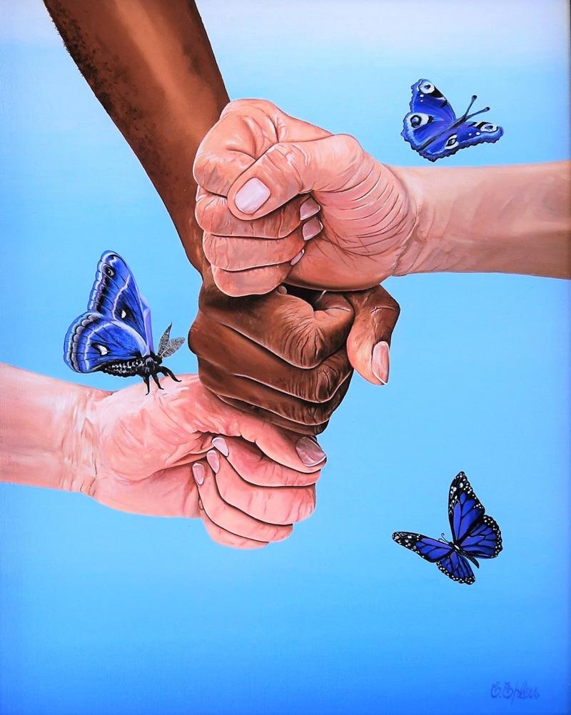 """'Together for the better' - Olja på pannå, 33x41 cm - Denna oljemålning inspirerade mig från mitt hjärta och det slutliga resultatet berättar för oss att om vi arbetar tillsammans i stället för att konkurrera och tävla mot varandra - då kan vi äntligen kunna komma att leva i en bättre värld. Detta ämne är i linje med mina egna värderingar och jag tror att det finns ett stort behov för vår älskade planet, Moder Jord, att få fred mellan oss människor. Så länge vi tävlar blir det inget stopp för strider och eftersom jag anser att vår hemplanet är en levande organism med känslor som oss, kommer hon inte sluta lida förrän vi är snälla mot varandra. Så denna målning är tänkt att väcka tankar om samarbete och att vi måste försöka sträva mot gemensamma mål. Eftersom vi alla i grund och botten är varandras jämlikar. När vi föds in i denna värld, är vi alla lika och detsamma gäller när vi dör. Varken mer eller mindre. Alla har samma mänskliga behov och därför bör vi också tänka att vi alla är jämlika. Jag målade den här för tio år sedan och då, år 2006, hade jag en blåaktig fas. Så det låg nära till hands att jag valde en vibrerande blå färg på detta arbete. Förutom händerna, vilka fick """"köttets"""" färg. Fjärilarna symboliserar människans """"uppvaknande"""" till högre väsen eller varelser och kan även föra tanken till skönhet och skörhet runt männens nävar."""