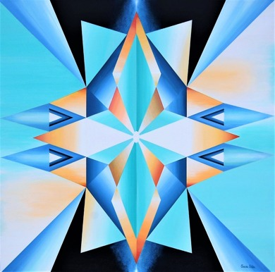 Kosmiskt ljus, Mandala - 62x62 cm - Akryl på bomullsduk