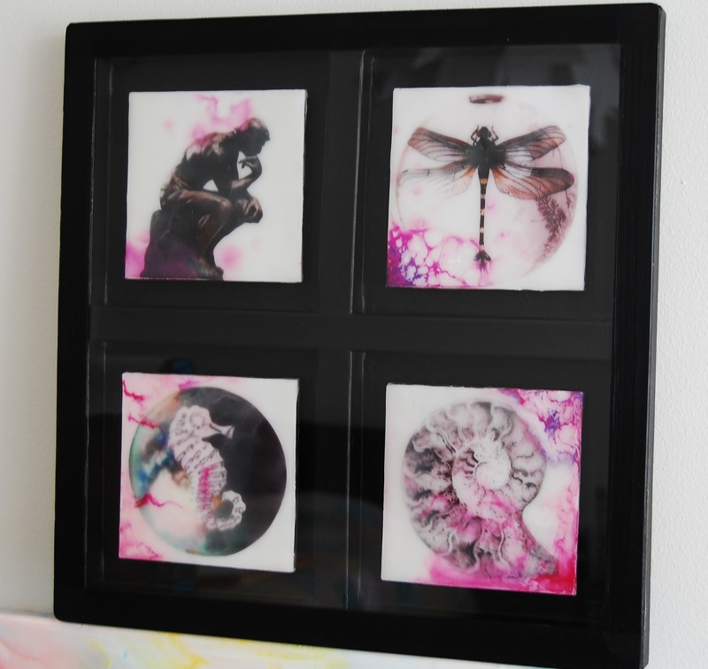 This is miniature artwork ~ Encaustic Art/ Beeswax 4 pieces a` 9 cm in a box frame with plexiglass over