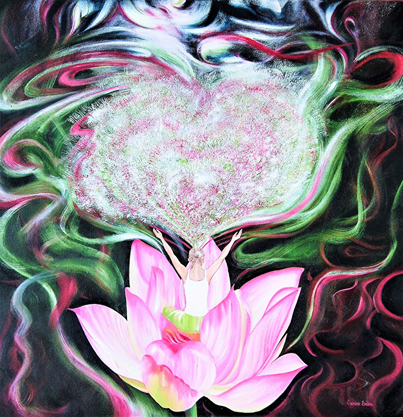 'Chakra of Heart' - 80x80 cm, oil on canvas