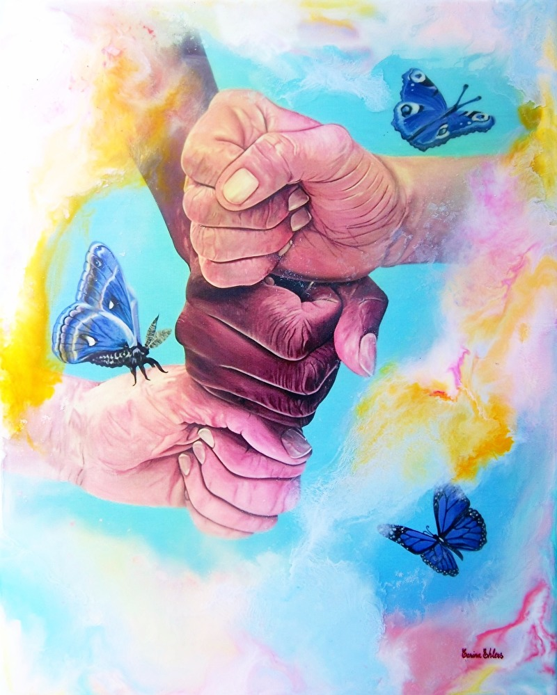 'Together for the better' ~ EncausticArt, 37x46 cm Beeswax painted on a giclée/digigraphie from one of my oilpaintings