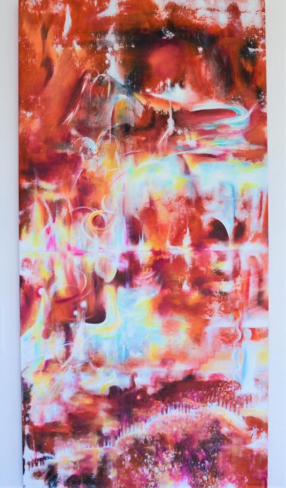 LivsKraft ur Våglängder - 81x162 cm (kilramsdjup 3,8 cm) - Olja & akryl på canvas