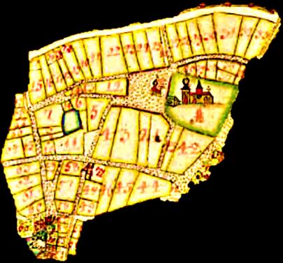 """Geometrisk avmätning 1687; """"Skiöfde Stads Grundritningh samt Geometrich: Delineation på dess tillhörigheter.""""  Utvald del av större karta innanför stadens staket. (Lantmäteriets karta)"""