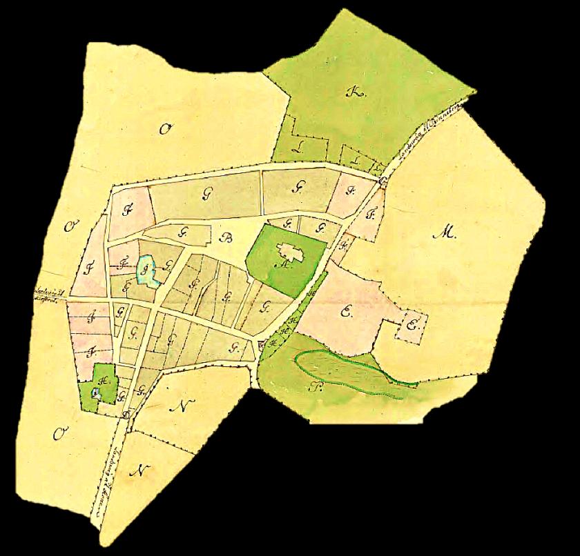 Karta 1760 - året efter branden i november 1759 visar den förödelse branden förde med sig. Kålgårdar (H) var viktiga på 1600 och 1700-talet förstår man av kartorna. (Lantmäteriet Historiska kartor)