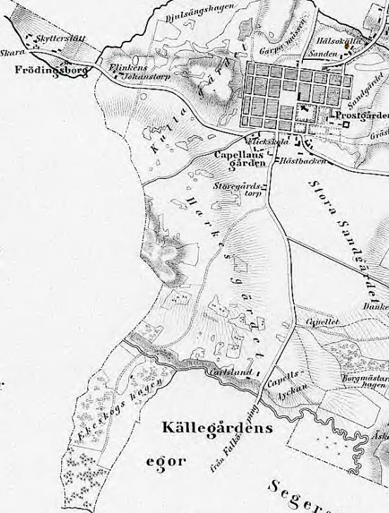 Karta från 1856. Från Skyttesledet i norr till Källegårdens marker i söder. Harkesgärdets utbredning just där SAJ kom att byggas.. (Lantmäteriet Historiska Kartor)