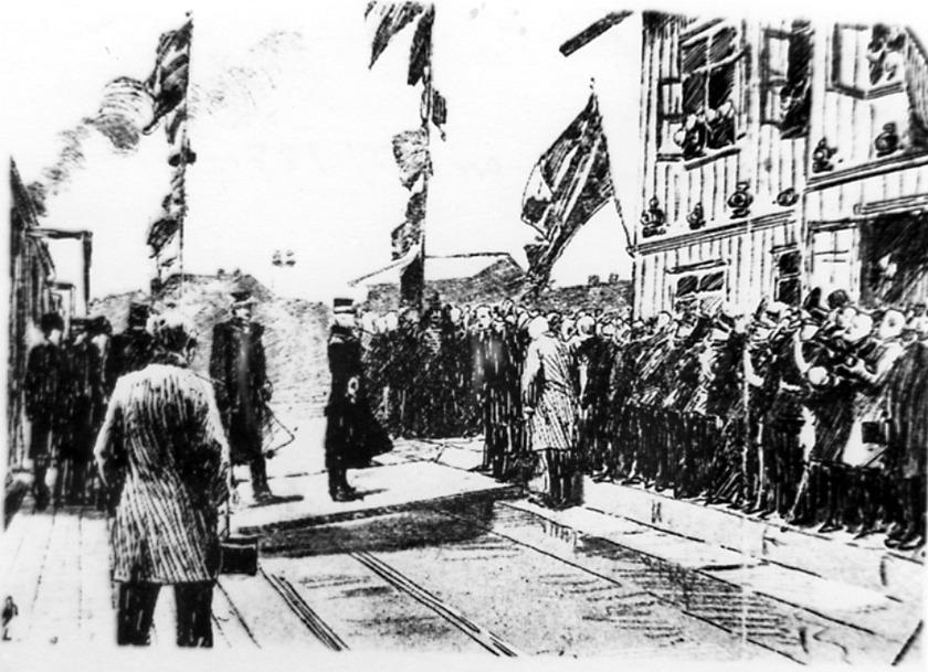 Invigning Lidköping-Skara-Stenstorps Järnväg (LSSJ) 19 november 1874 med Oscar II. Reprofotografi av teckning eller etsning. (Bild från Västergötlands Museum)