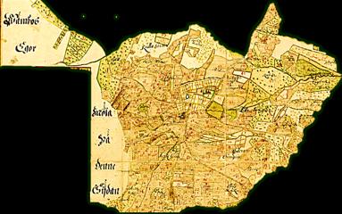"Skövde stads ägor 1687. Karttexter; ""Kulla Gierde"", ""Skarpa backar"", ""Mackas Kulle"", ""Wåmbos Egor möta på denne Sidan"", ""Harkes Giarde"", ""Sangierde"", ""Prästens Sangierde"", ""Stora Sangierde"", mm"