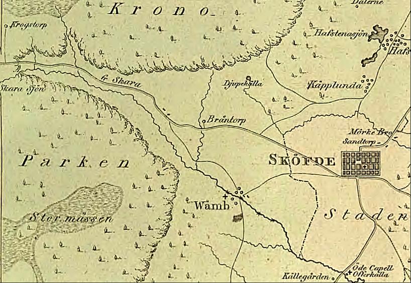 """Karta sammanställd och utgiven 1816 av  N.C. Werming. Visar tydligt vattendragen och vägen mot Varnhem och Falköping med """"Öde Kapell & Offerkälla"""" nära Källegården."""