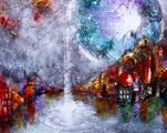 town sunset abstract abstrakt konst
