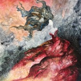 abstrakt konst art lady in red