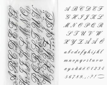 Clearstamps alfabet kursiv stil