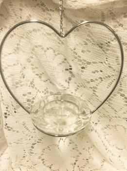 Hjärta med värmeljushållare i kristall -