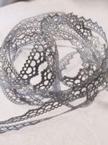 Spetsband metallic, ljusgrå/silver 1,5 cm bredd