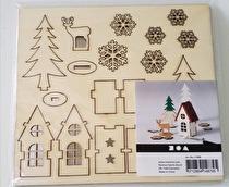 Sätt-ihop-själv figurer, hus, trä, rådjur, L: 15,5 cm, B: 17,5 cm, plywood, 1förp., tjocklek 3 mm
