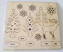 Sätt-ihop-själv figurer, skog med rådjur, L: 15,5 cm, B: 17,5 cm, plywood, 1förp., tjocklek 3 mm