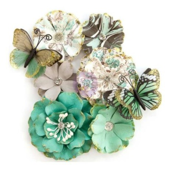 Prima Zella Teal Flowers - Butterfly Kisses -