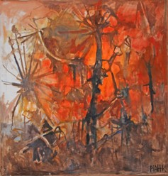 """Öde mark"" av Pia Campbell Hesselmark. 130x130 cm."
