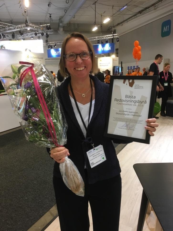 Ekonomibyrån i Halmstad AB vinnare Bästa Redovisningsbyrån Företagarnas val 2019 VISMA Accounting Awards