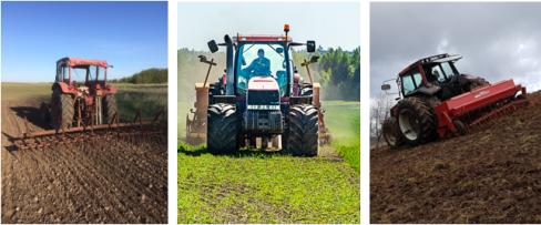 Olika jordbearbetningsredskap och såmaskiner testas.